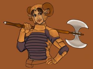 Axe holding her axe.